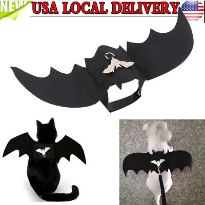 Wings For Costumes (Halloween Pet Cat Costume Bat Wings Costumes Pet Apparel w/Harness for Dogs)