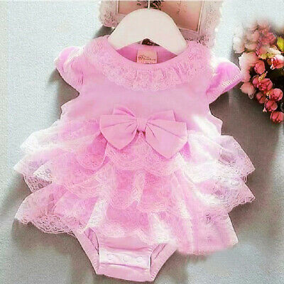 Neue Baby-mädchen-kleidung (DE Spitze Neugeborenen Baby Mädchen Tutu Strampler Overall Body Outfits Kleidung)