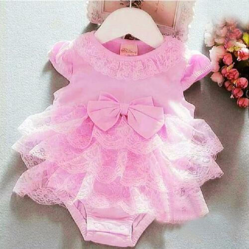 DE Spitze Neugeborenen Baby Mädchen Tutu Strampler Overall Body Outfits Kleidung