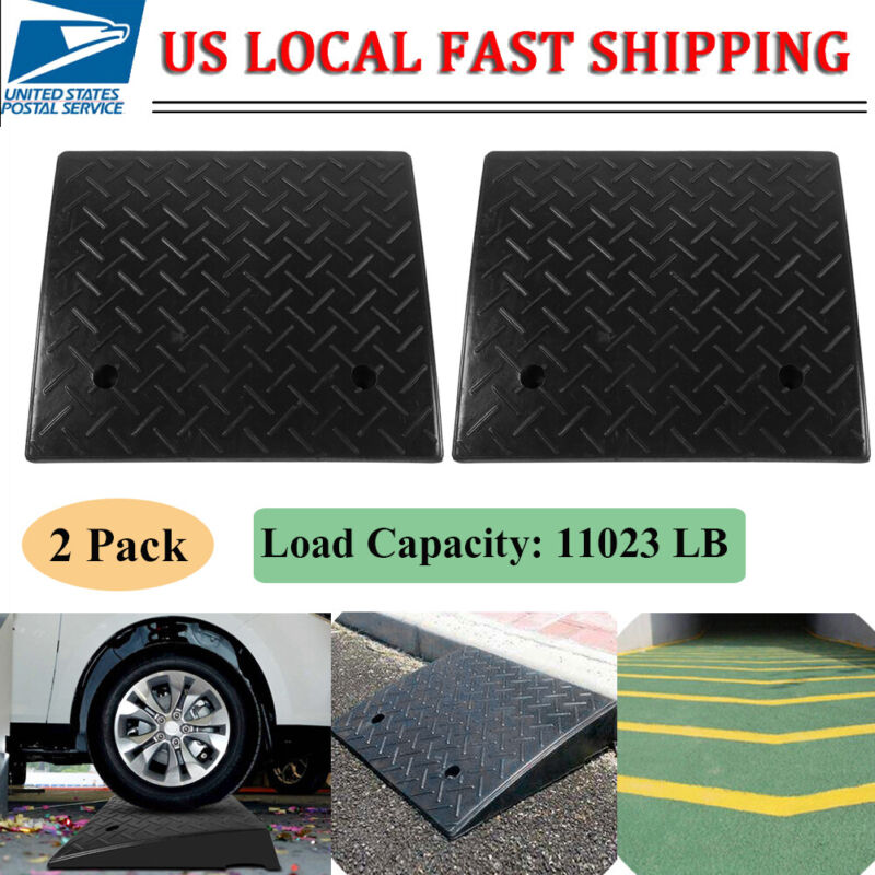 """2 Pack 5 Ton Rubber Curb Ramp - 4.3"""" Height - End Caps - Portable US STOCK"""