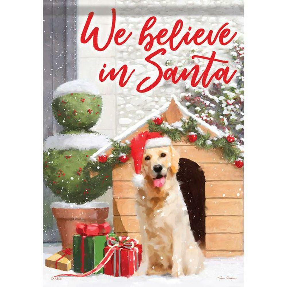 BELIEVE IN SANTA DOG PUPPY HOUSE WINTER CHRISTMAS MINI WINDO