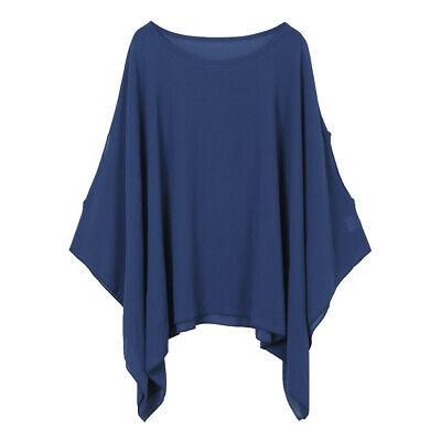 Loose Batwing Poncho (Womens Solid / Print Batwing Sleeve Top Chiffon Poncho Casual Loose Sheer)
