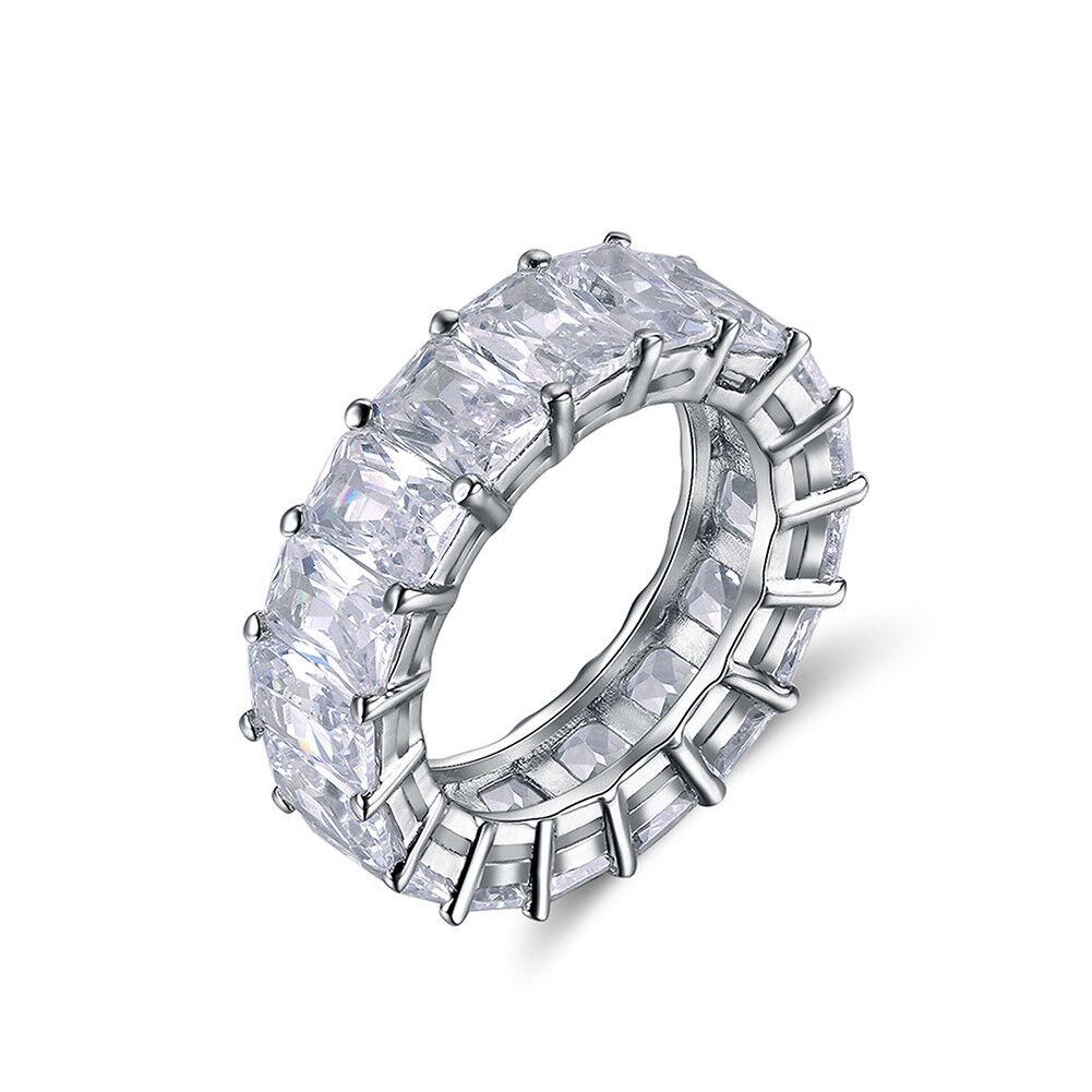 Luxury Eternity Ring Cubic Zirconia Prong Set Wedding Bands