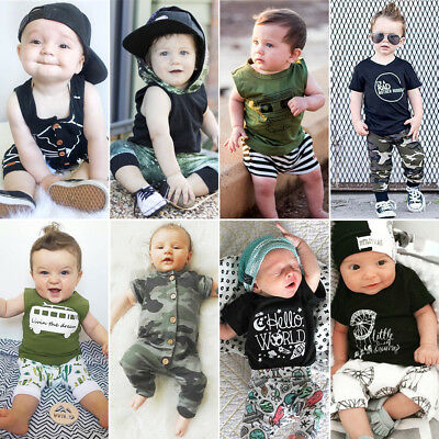 UK Newborn Toddler Baby Kids Boy Clothes T-shirt Romper Tops+Short Pants Outfits