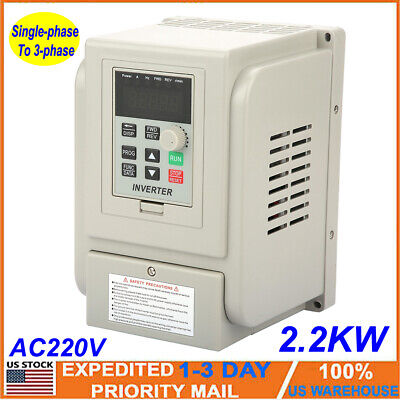 New 2.2kw Single To 3 Phase Variable Frequency Drive Vfd Speed Controller Motor