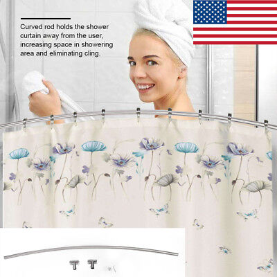 Stainless Steel Curved Shower Curtain Rod Wall Mounted Adjustable 56