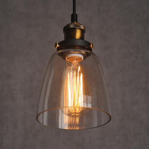 Vintage Industrial DIY Ceiling Lamp Light Glass Pendant