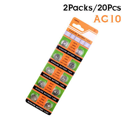 20Pcs 1.55V AG10 LR54 LR1130 L1131 389 189 Alkaline Battery Button Cell...