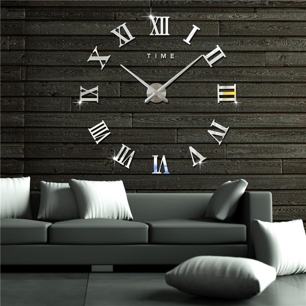 Modern Large 3D Analog Mirror Surface Wall Sticker Clock Home Office Decor Decal