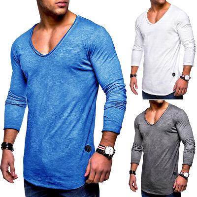 Herren Oversize Longsleeve T-Shirt Sweatshirt Longline Pullover Schwarz/Weiß NEU