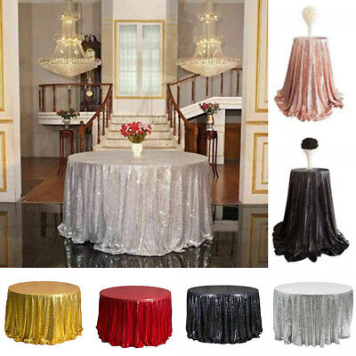 Silver Sequin Tablecloth (JU_ Round Sequin Tablecloth Rose Gold Silver Table Cloth Cover Wedding Party)