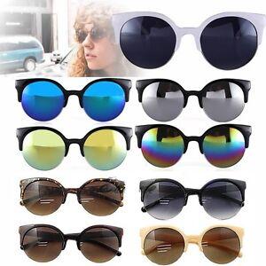 Fashion-Retro-Vintage-Oversized-Cats-Eye-Sunglasses-Round-Black-Unisex-Designer