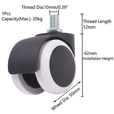 2-inch Wheel Diameter Office Chair Swivel Caster Twin Wheel Pulley Threaded Stem