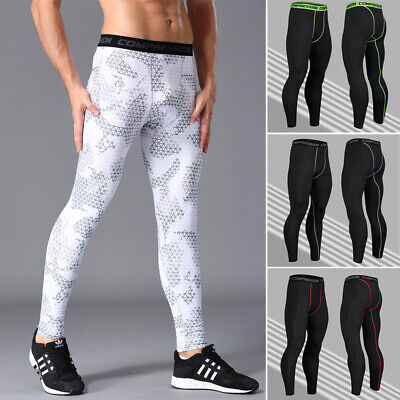 Athletic Spandex Tights - Mens Compression Tights Athletic Base Layers Spandex Sports Long Pants Quick-dry
