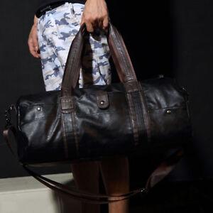 Men's Leather Shoulder Bags Duffle Gym Bags Carry-on Luggage Handbag Travel Bag