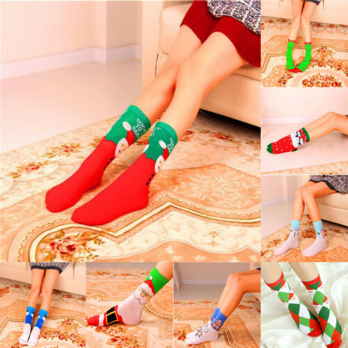 2 Pair Women Cotton Christmas Socks Gift Warm Soft Long High