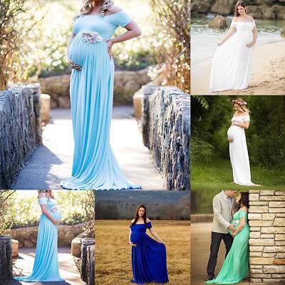 Schwangere Maxi Kleid Umstandsmode Kostüme Schwangerschaftskleid Fotoshooting  (Schwangere Kostüme)
