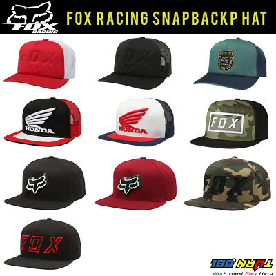 - FOX Racing Men's SNAPBACK Hat Black CAP CAMO Skate Sports Streetwear HONDA MOTOX
