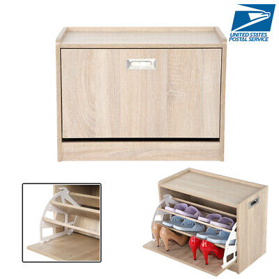 3 Tier Wooden Shoe Shelf Cabinet with Bench Storage Rack Box Ottoman Closet Seat Wooden Shoe Cabinet