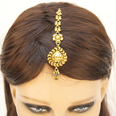 Pakistani Indian Ethnic Gold Plated Mang Tika Bollywood Bridal Hair Jewelry