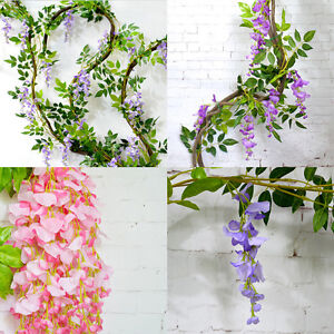 6-5-Foot-Artificial-Wisteria-Fake-Garden-Hanging-Flower-Plant-Vine-Wedding-Decor