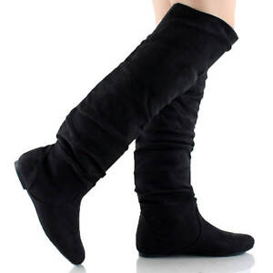 Womens Thigh High Boots Over The Knee Slouch Flat Heels Winter Snow Faux Leather