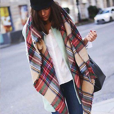 Women Oversized Blanket Tartan Scarf Wrap Shawl Plaid Cozy Faux Cashmere (Faux Cashmere)