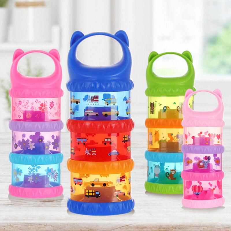 3 Layer Milk Powder Formula Dispenser Box Kids Baby Infant Feeding Container