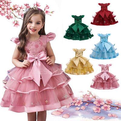 Kinder Blumen Prinzessin Partykleid Spitze Tutu Tüll Brautkleider für Mädchen DE