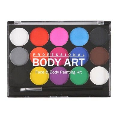 15 Colors Non-toxic Water Based Paint Face Body Art Painting Makeup Set Kit