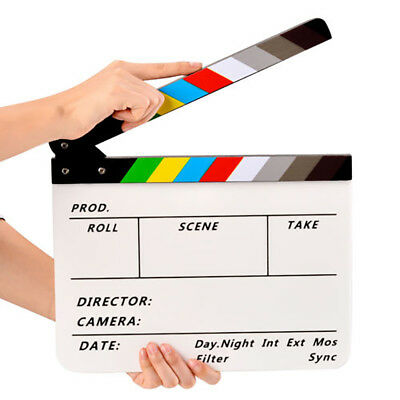 Movie TV Slate Cut Action Scene Clapper Board Dry Erase Clapboard Film Clapboard (Action Clapboard)