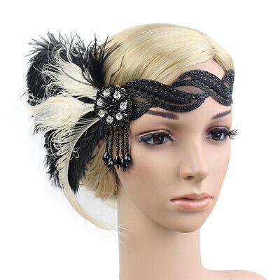 Girls Party Headdress Vintage Art Deco Feather Flapper Prom Women Headband 1920s