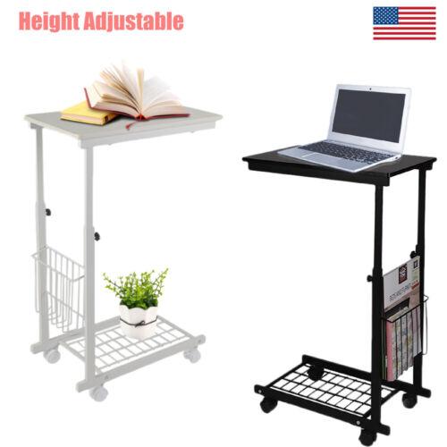 Adjustable Desk Tray Sofa Side End Table Laptop Computer PC Bedside Stand Wheel