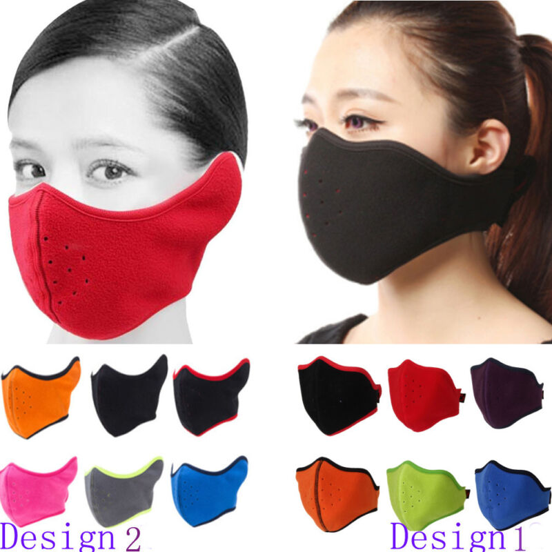 Men Women Fleece Windproof Face Mask Half Balaclava Mask for Skiing Outdoor