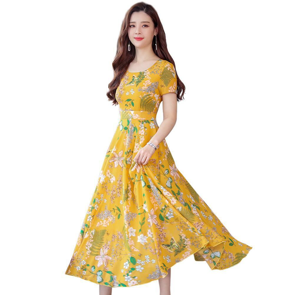 Details about #G BW#A Plus Size Floral Print Slim Long Dress Women O-neck  Short Sleeve Dresses