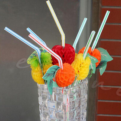 50Pcs 3D Fruit Umbrella Summer Bar Decor Party Colorful Cocktail Drink Straw