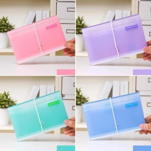 New Plastic Candy Color Folder Document Bag File Expanding Wallet Bill Fo tpss