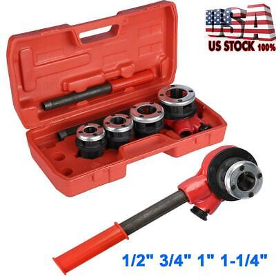Manual Plumber Pipe Threading Kit 12 34 1 1-14 4 Dies Threader Tool Usa