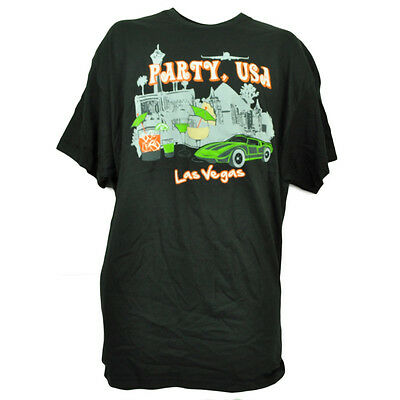 Party Cities Usa (Party USA Las Vegas Tshirt Tee Black Short Sleeve Sin City Mens Crew Neck)