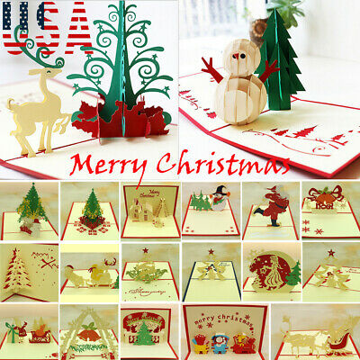 US STOCK 3D Pop Up Greeting Card Handmade Happy Birthday Merry Christmas -