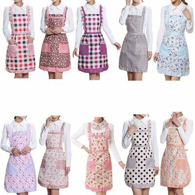 Kitchen Aprons Womens Country Waterproof Check Floral Print Aprons With Pockets