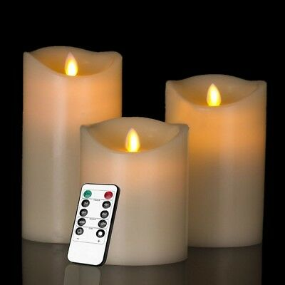 Fake Candles Flameless Bulk Large Battery Operated With Remote Led Pillar 3 PACK