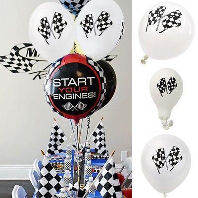 10 pcs Cars Racing Flag Latex Balloon Checkered Balloon Car Race Party Decor Set](Checkered Flag Balloons)