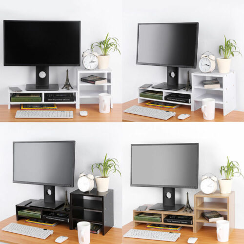 Computer Monitor Stand Desk Table 2 Tier Shelf Laptop Riser