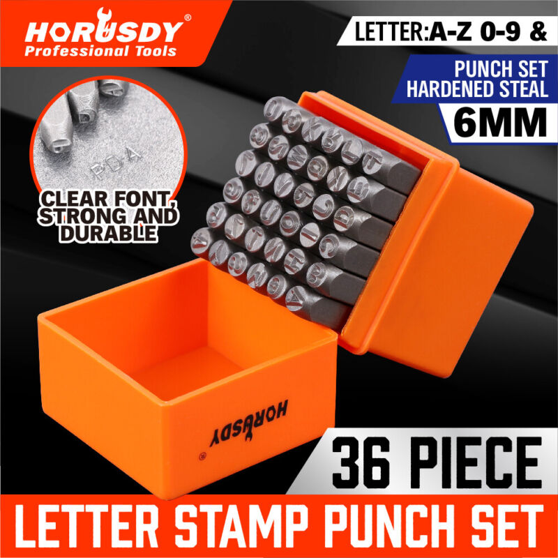 """36Pc Number Capital Letter Stamp Punch Set A-Z & 0-9 1/4"""" Metal Plastic Leather"""