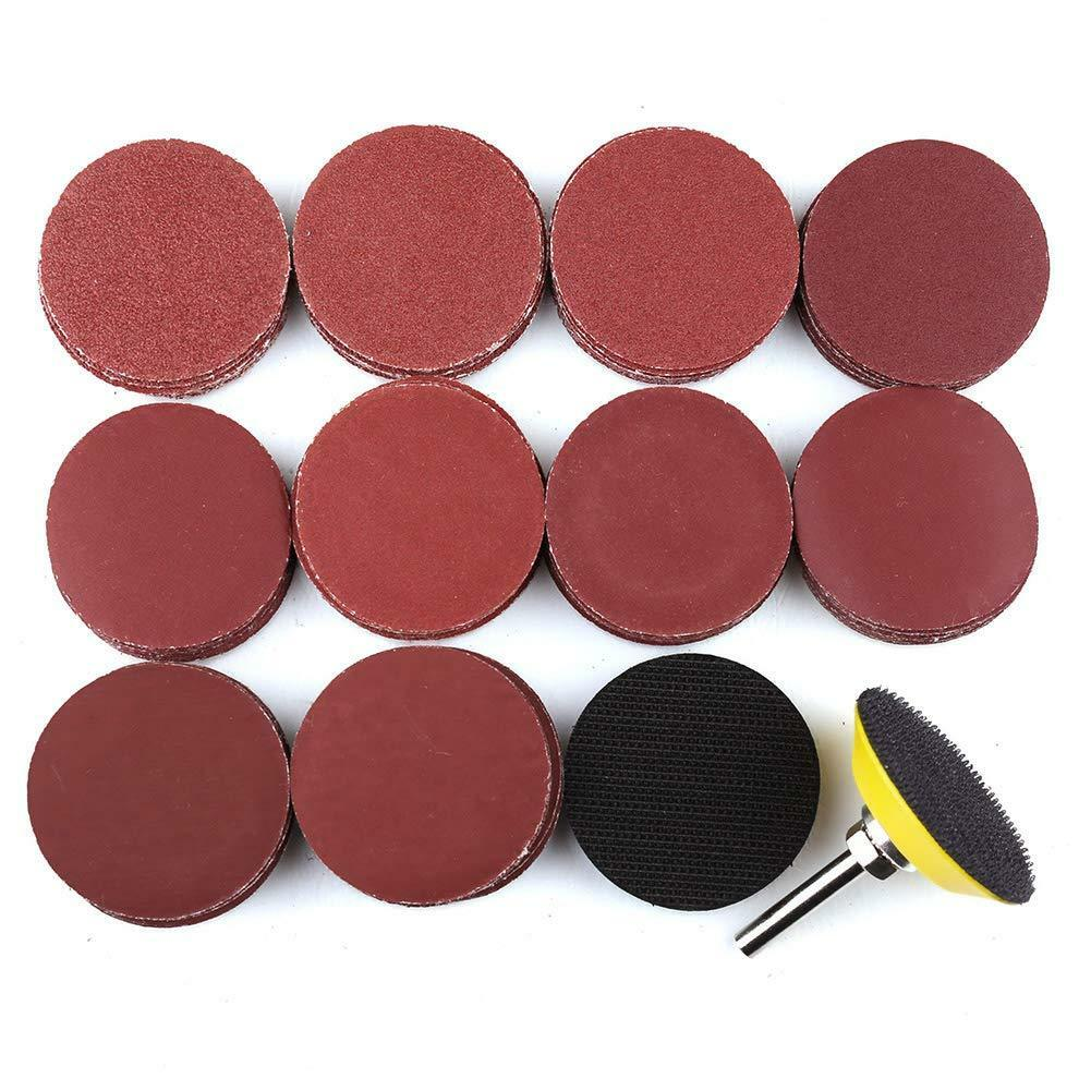100Pcs 2 inch 50mm Sandpaper Disc Hook and Loop Sanding Sand
