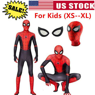Costume For Boy (Kid Boy SpiderMan Far From Home Spider-man Zentai Child Cosplay Costume Suit)