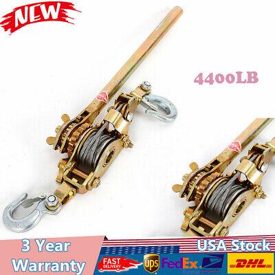 2 Ton Hd Hand Puller Come Along Cable Hoist 2 Hooks 4400lb Heavy Duty Come Along