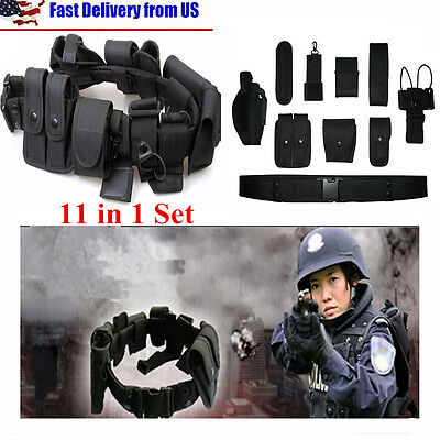 Tactical Police Duty Belt Training Security Guard Utility Kit Pouch 11 In 1 Set