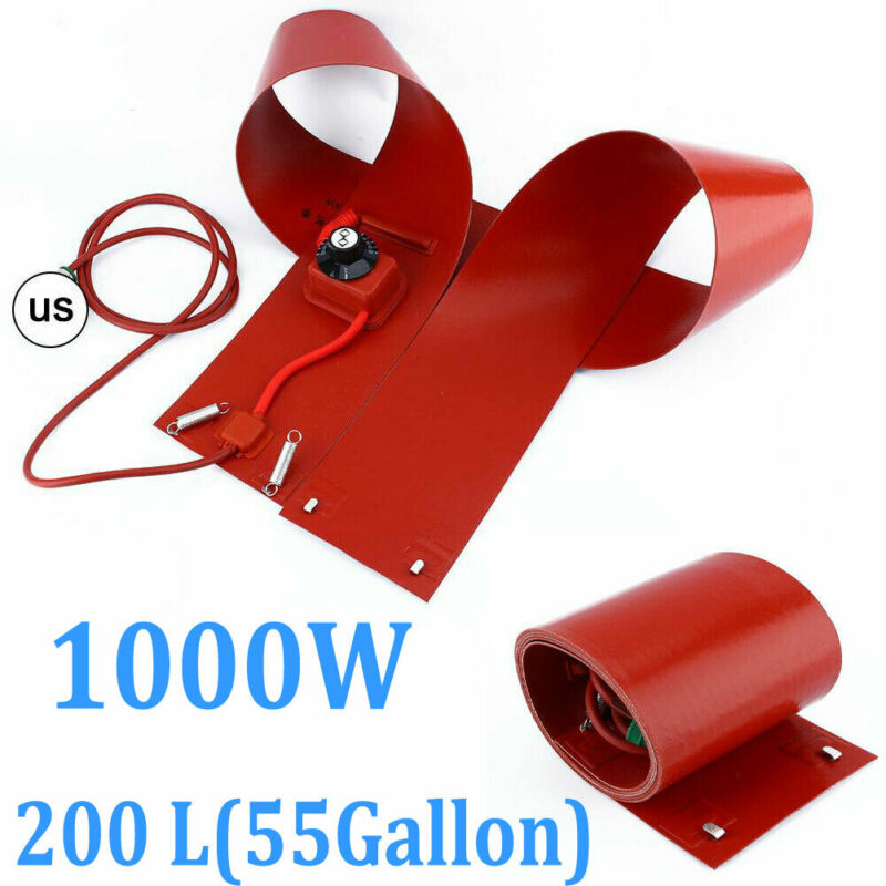 200L/55Gallon 110V 1000W Silicone Band Drum Heater Oil Biodiesel Metal Barrel US